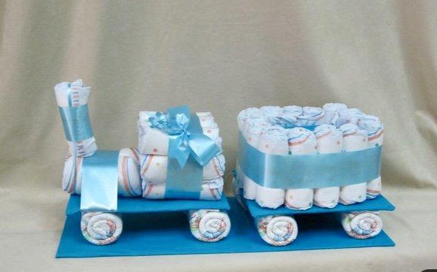 Pamperu dāvana Zilais vilciens