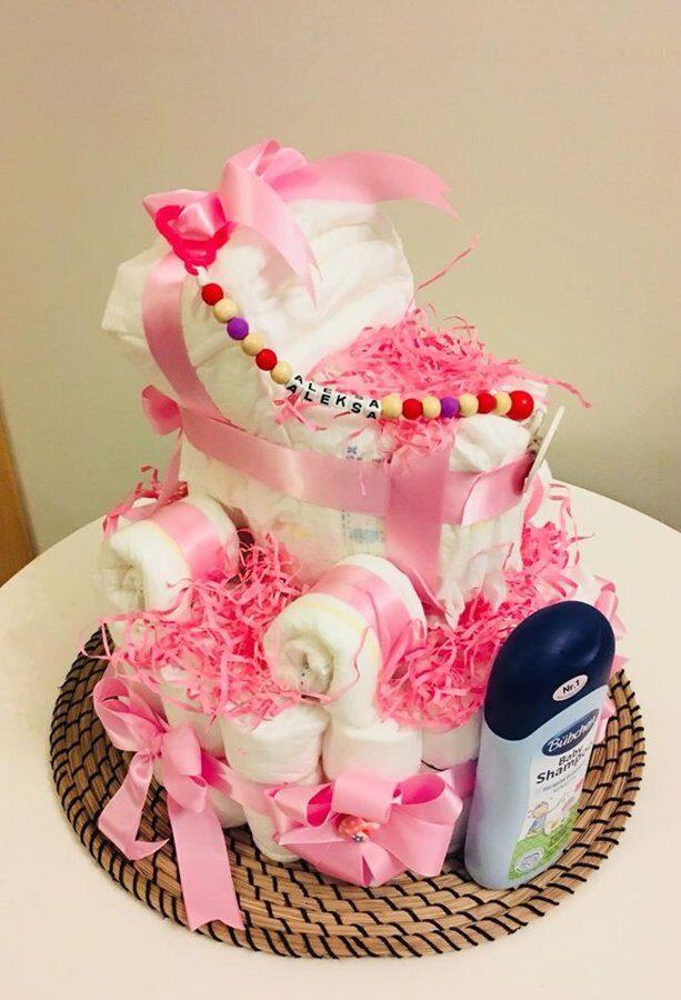 Pamperu torte Meiteņu ratiņi